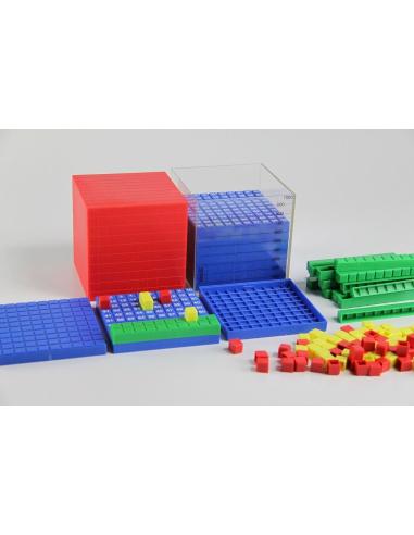 Système décimal Montessori Base 10 en couleur cube cm3 dienes méthode de singapour