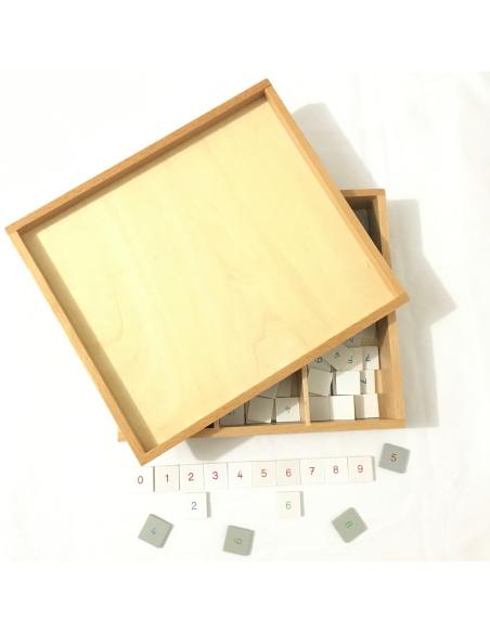 Boîte damier chiffres échiquiers multiplication Matériel Montessori nombre entier decimaux mathematique symbole