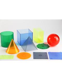 Solides volumes geometrique couleur transparent base axe materiel scolaire didactique pedagogique educatif geometrie