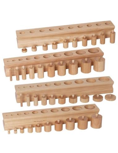 Lot emboitements cylindriques bloc cylindre materiel montessori didactique maternelle ambiance sensoriel