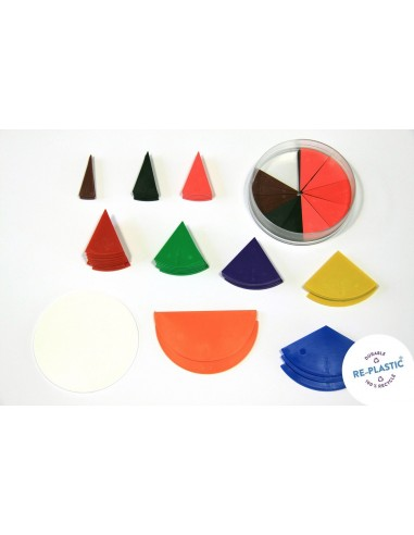 Fractions circulaires 10 cercles complets en coffret plastique Wissner apprentissage actif {PRODUCT_REFERENCE}  Fractions et pou
