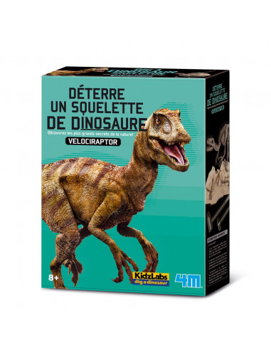 Déterre ton dinosaure (vélociraptor) - lot scientifique kidzlab 4M 63234  Histoire - 4