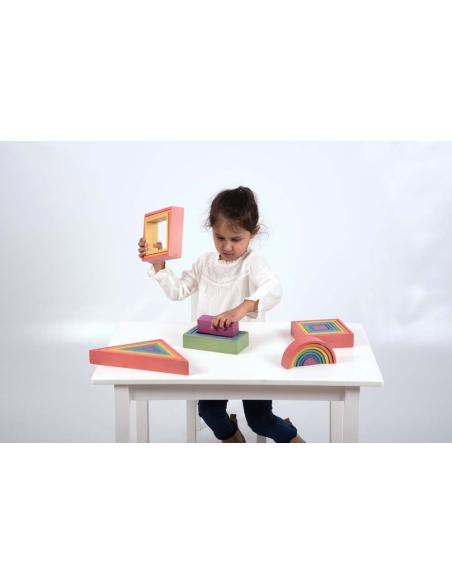 Set formes arc-en-ciel grimm's grimms montessori jouet educatif waldorf pédagogique forme geometrique tickit construction trie