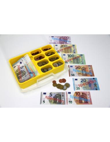 Mallette Ensemble Monnaie Euro factice - 130 billets et 160 pièces - Avec coffret de rangement Wissner apprentissage actif {PROD