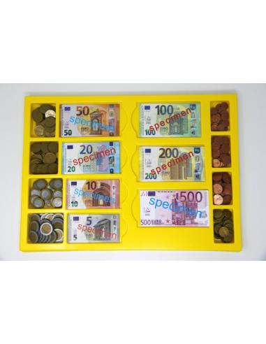 Coffret Monnaie des Euro - Monnaie factice - s 130 billets et 160 pièces - Coffret de rangement avec couvercle - Monnaie factice