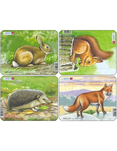 Lot de 4 puzzles des animaux de la fôret Larsen (lapin, renard, hérisson, écureuil) Larsen {PRODUCT_REFERENCE}  Puzzles - 1