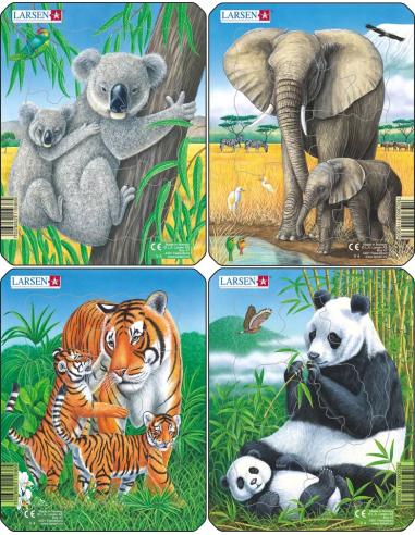 Lot de 4 puzzles des anmaux d'Asie Larsen (tigre, éléphant, koala, panda)