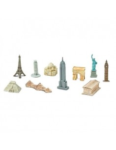 Lot monument monde histoire figurine educative montessori paris tour eiffel parthenon palenque maya taj mahal safari 679604