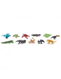 Forêt tropicale figurine educative montessori education grenouille caiman tapir fourmilier pedagogique safari faune