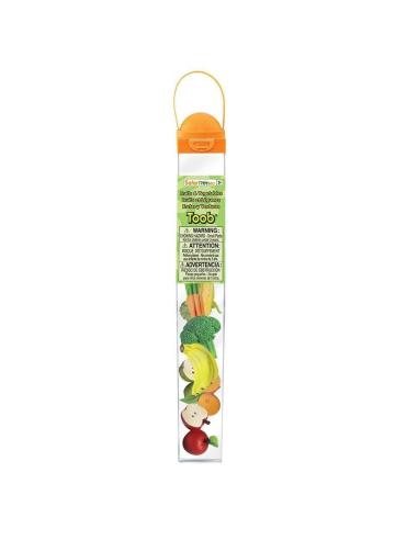 Figurines fruits et légumes Tube Safari 688304 Matériel pédagogique Enrichissement Montessori Jouet Cartes maternelle science vo