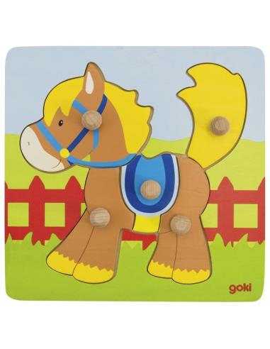 cheval Puzzle poignée bouton prehension educatif pedagogique montessori partie bois