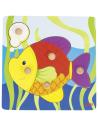 poisson goki 57554 Puzzle poignée bouton prehension educatif pedagogique montessori partie bois jouet jeu premier