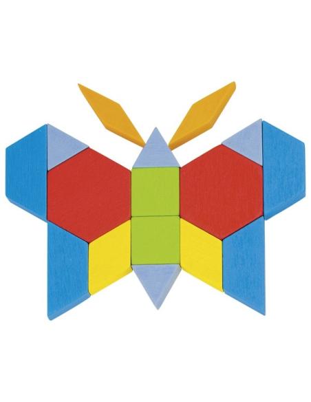 Baril mosaiques Attrimaths 250 bois epais goki 58557 mathematique jeux libres formes gometriques puzzle ecologique modele