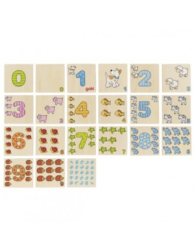 Mémory nombres 0 9 jeux mémoire maternelle apprendre chiffre symbole PS MS GS competence executive goki bois mémo apprends compt