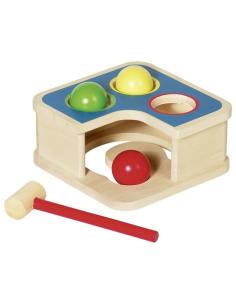 Boite permanence objet motricite fine goki bois marteau montessori boule balle premier age creche maternelle jouet bebe ecolo