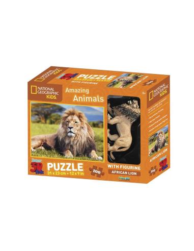 Coffret Puzzle du lion + 1 figurine - 100pcs - National Geographic 5115502 National Geographic {PRODUCT_REFERENCE}  Puzzles - 2