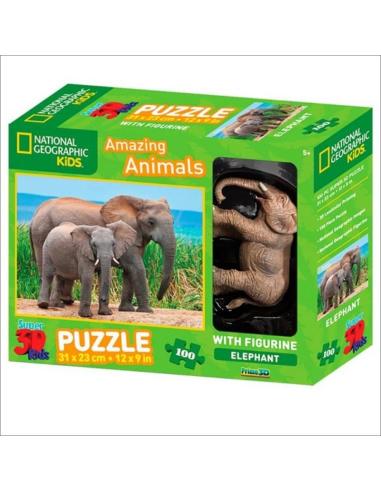 Coffret Puzzle des éléphants + 1 figurine - 100pcs - National Geographic 5115500 National Geographic {PRODUCT_REFERENCE}  Puzzle