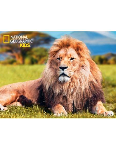 Puzzle 3D Lion Africain coffret pedagogique figurine afrique materiel educatif montessori discovery lesminis 100 pièces 5 ans