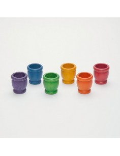 Lot coquetiers en bois arc-en-ciel grapat jeu libre tri couleur mathematique 15-120 nins boutique anneaux couvercles pedagogique