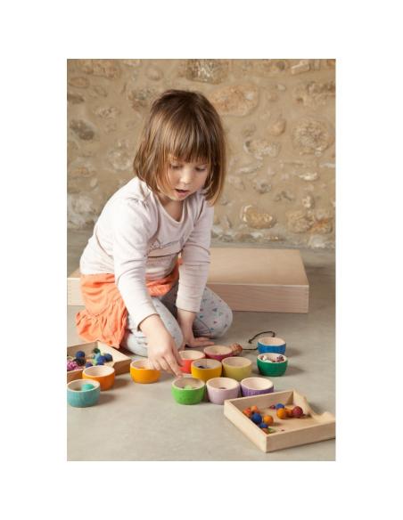 12 bols bois grapat jeu libre jouet bois alternative coin classe montessori steiner waldorf materiel pedagogique tri
