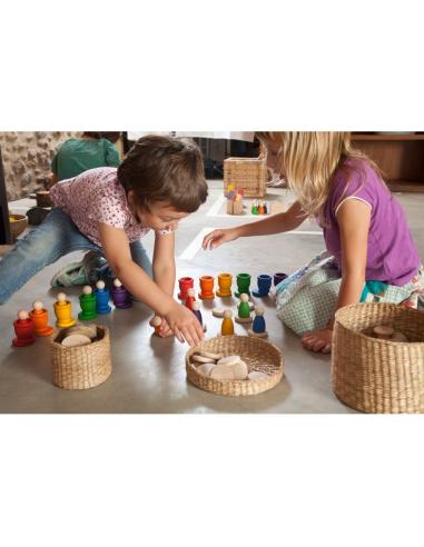 Nins bols grapat assiettes jeu libre jouet bois alternative coin classe montessori steiner waldorf materiel pedagogique