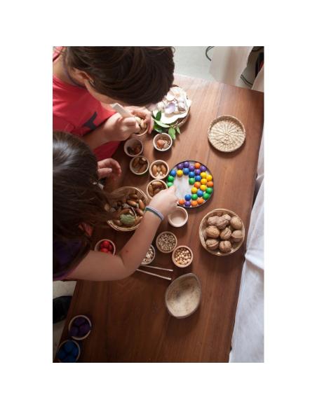 bols billes pot pince grapat jeu libre jouet bois alternative coin classe montessori steiner waldorf materiel pedagogique tri
