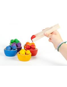 Lot bols glands pince grapat jeu libre jouet bois alternative coin classe montessori steiner waldorf materiel pedagogique tri
