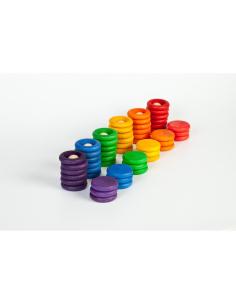 Nins pièces anneaux grapat jeu libre jouet bois alternative coin classe montessori steiner waldorf materiel pedagogique tri