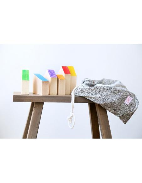 6maisons bois peint grapat jeu libre jouet bois alternative coin classe montessori steiner waldorf materiel pedagogique tri