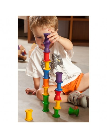 18 bobines arc-en-ciel grapat jeu libre jouet bois alternative coin classe montessori steiner waldorf materiel pedagogique tri