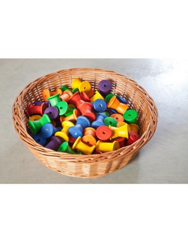 36 bobines arc-en-ciel grapat jeu libre jouet bois alternative coin classe montessori steiner waldorf materiel pedagogique tri
