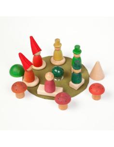 Ensemble la forêt des Nins grapat jeu libre jouet bois alternative coin classe montessori steiner waldorf materiel pedagogique