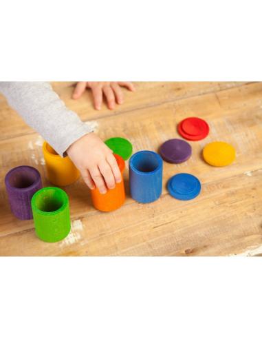 6 pots coloré couvercles grapat jeu libre jouet bois alternative coin classe montessori steiner waldorf materiel pedagogique tri