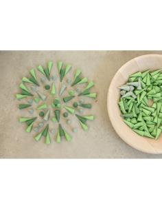 cones bois coloré Mandala grapat jeu libre jouet bois alternative coin classe montessori steiner waldorf materiel pedagogique