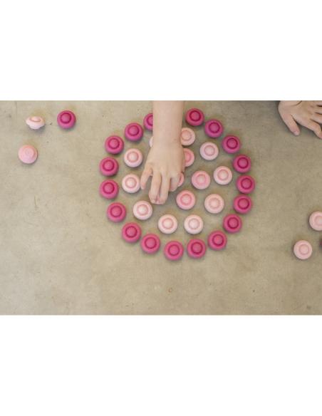 36 fleurs roses Mandala grapat jeu libre jouet bois alternative coin classe montessori steiner waldorf materiel pedagogique tri
