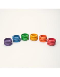 anneaux arc-en-ciel grapat jeu libre jouet bois alternative coin classe montessori steiner waldorf materiel pedagogique tri