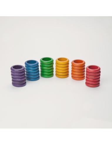 36 anneaux 6couleurs grapat jeu libre jouet bois alternative coin classe montessori steiner waldorf materiel pedagogique tri