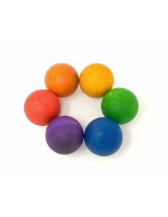 boules bois arc-en-ciel grapat jeu libre jouet bois alternative classe montessori steiner waldorf materiel pedagogique tri