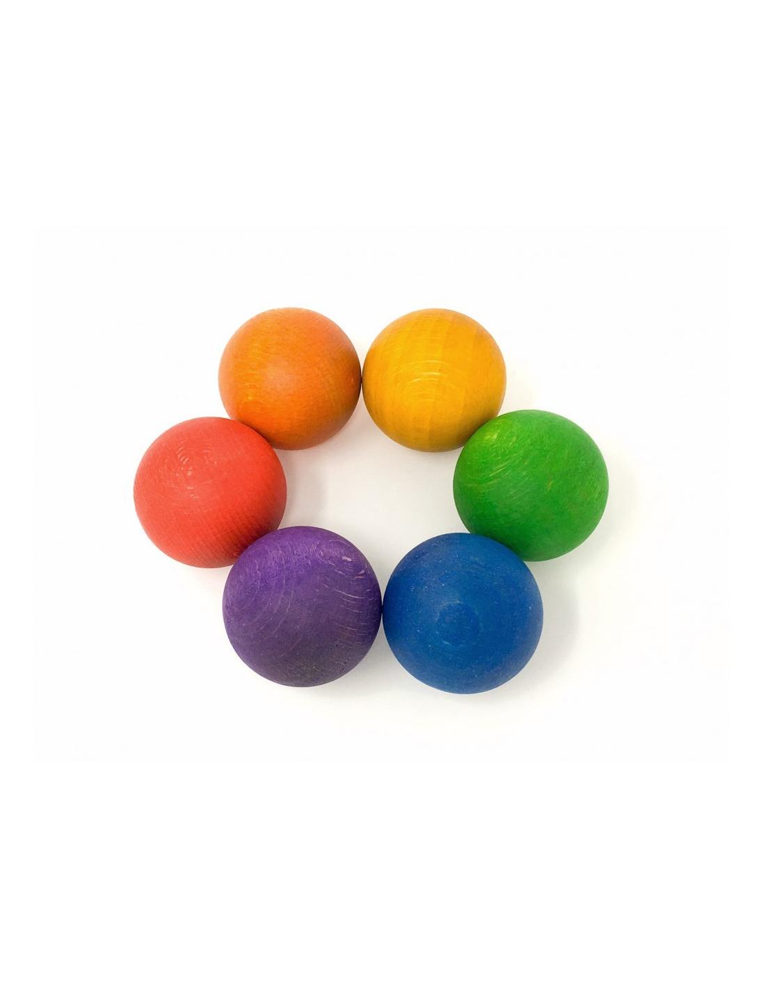 Jeu libre : 6 boules en bois arc en ciel GRAPAT | Jouet | Matériel pédagogique| Waldorf Montessori Steiner