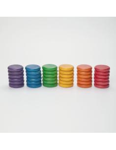 pièces bois couleur arc-en-ciel grapat jeu libre jouet bois alternative classe montessori steiner waldorf materiel pedagogique