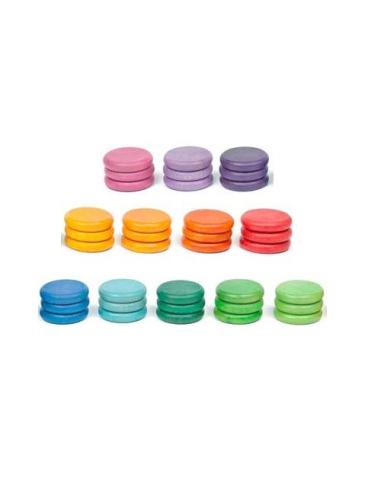 pièces colorées arc-en-ciel grapat jeu libre jouet bois alternative classe montessori steiner waldorf materiel pedagogique tri