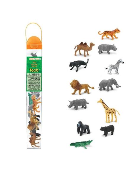 Figurines animaux sauvages Tube Safari 695004 Matériel pédagogique Enrichissement Montessori Jouet Cartes maternelle science voc