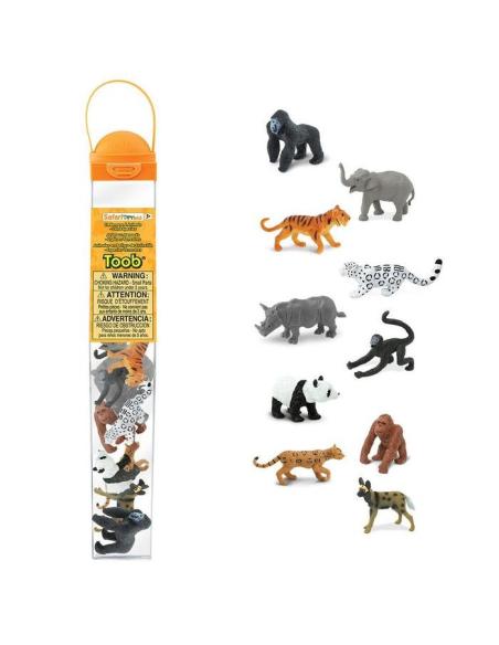 Figurines espèces menacées Tube Safari 100109 Matériel pédagogique Enrichissement Montessori Jouet Cartes maternelle science voc