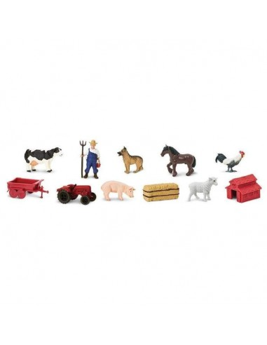 Figurines vie à la ferme Tube Safari 682604 Matériel pédagogique Enrichissement Montessori Jouet Cartes maternelle science vocab