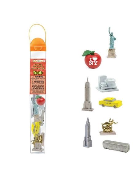 lot figurine pedagogique educatif montessori safari tube toob geo enrichissement scolaire new york amerique monde monument