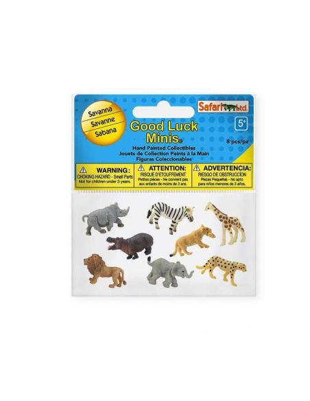 Figurines Mini animaux savane Safari 100224 Matériel pédagogique Enrichissement Montessori Jouet Cartes maternelle science vocab
