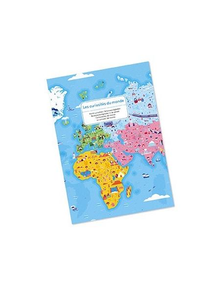 Puzzle éducatif monuments monde curiosité geant planisphère mappemonde janod j02677 pedagogique