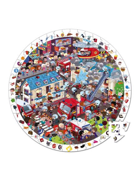 puzzle d'observation rond pompiers extreme valisette janod 3ans 4ans materiel pedagogique educatif j02793 cherche trouve