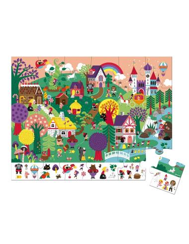 puzzle d'observation rond contes fee valisette janod 3ans 4ans materiel pedagogique educatif j02661 cherche trouve valise