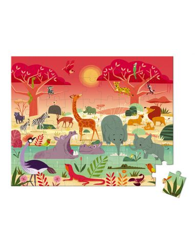 puzzle safari reserve animaliere france animaux valisette janod 3ans 4ans materiel pedagogique educatif j02666 bebe